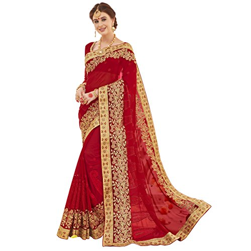 Triveni Faux Georgette Red Bridal Embroidered Traditional Sarees