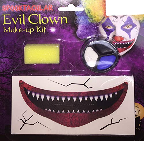 Labreeze Halloween Scary Evil Clown Face Make Up Set Wide Mouth Smile Tattoo Transfer