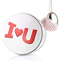Anvor® I LOVE YOU USB Memory Stick FLASH DRIVE USB Disk Pink Heart Diamond Crystal Love Pendant Necklace Gift Present- 16GB I LOVE YOU
