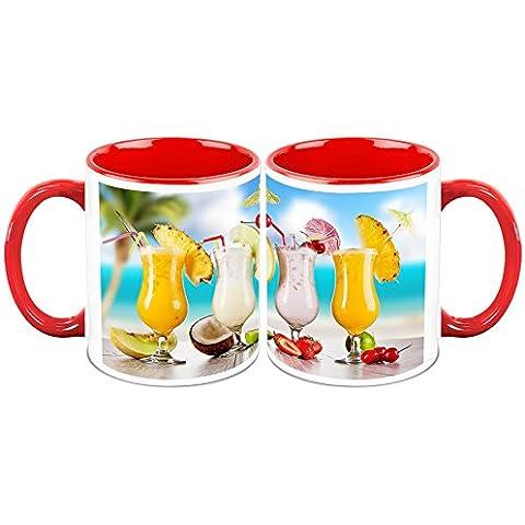 HomeSoGood Awesome Combination Of Mock-tail Drinks White Taza de cafe de ceramica - 11 Oz (Set Of