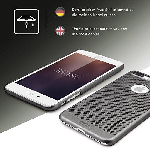 Coque iPhone 7 Plus, Urcover Loopee Case Housse Apple iPhone 7 Plus Étui Rigide et Colorée Téléphone [Plastique Dur] Bleu Foncé Cover Gris