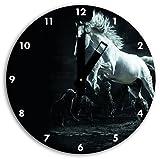 Caballo con lobos imagen en reloj de pared con negro blunt las manos y la cara, de 30 cm de...
