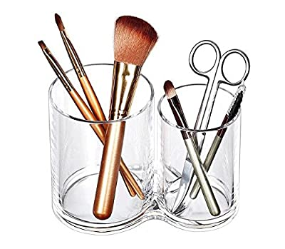 WAQIONG Storage Cylinder for Cosmetic Accessories Double Hole Pen Holder Jewelry Debris Box Transparent Acrylic in Countertop Dressing Table or Bathroom All-Purpose Makeup Brush Organizer