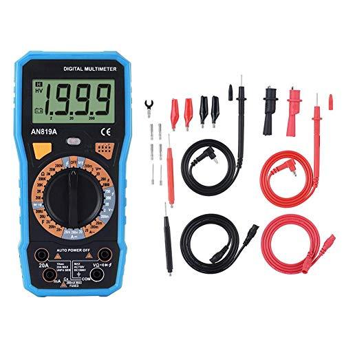 Akozon Digital Multimeter ANENG AN819A Spannung Strom Widerstand Temperatur Tester AC/DC Spannung Meter NVC Kontinuität Kapazität Transistor 16 Test Sonde Test führt(Blau Mit Krokodilklemme)