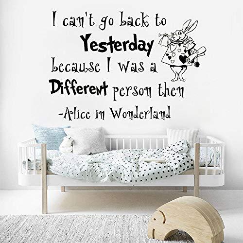 Wandaufkleber, Wunderland Kunst Aufkleber Weiß Kaninchen Vinyl Quote Wandaufkleber Für Kinderzimmer Wandbild Baby Schlafzimmer Kindergarten Hause Dekorative 42X60 Cm - Jalousie Vinyl Weiss