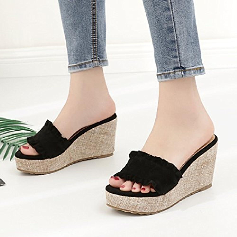 SCLOTHS Tongs Femme Chaussures D'été D'été D'été à fond épais imperméable piscine Pente haut talon - B07D5ZHKC4 - cc6961