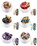 6 scatole fronte-retro color nail art foil pailette chip foil Flake per unghie acriliche Bright glitter lamina d' oro per decorazioni per unghie
