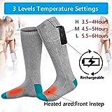 TIREOW Elektrische Beheizte Socken Kit Unisex Warme Thermische Socken Akku Fußwärmer Winter Männer Frauen Perfekt für Indoor Outdoor Sport Angeln/Wandern/Schlafen 3,7 V - 4
