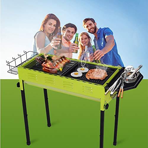 QMKJ Práctico Grill Fumador Barbacoa Plegable Parrillas portátiles Moda barbacoas Mesa BBQ...