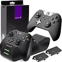 Fosmon Cargador Mando Xbox One, Doble Estación de Carga Cargador Rápida con 2 Recargable Baterías 1000mAh para Controladores Inalámbricos Xbox One/Xbox One S/Xbox One Elite/Xbox One X (Negro)