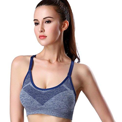 Soutien-gorge de sport,Tonwalk Yoga Fitness Fonctionnement Gym Tank Tops Bleu