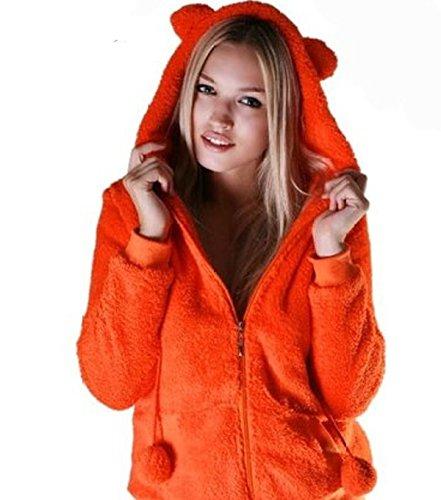 Urban Classics giacca da Paula Teddy Zip Hoody soffice sul Po con orecchie Arancione M
