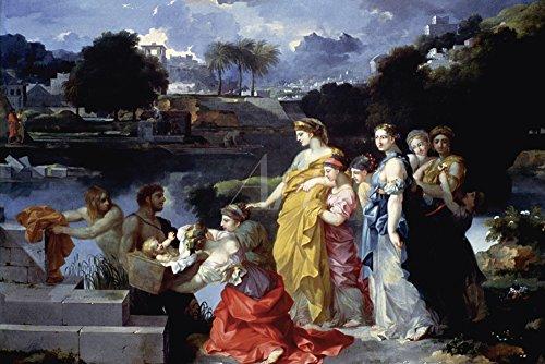 Artland Qualitätsbilder I Wandbilder Selbstklebende Wandfolie 30 x 20 cm Fantasy Mythologie Religion Judentum Malerei Blau C2RB Das Finden von Moses Um 1655