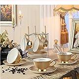 mytxfh Kaffeetassen British Pastoral Bone China Teetasse Untertasse Löffel Set Europa Elegante Keramik Kaffeetasse Hochwertige Porzellanteetasse