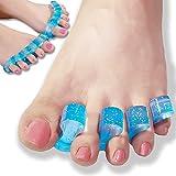 DR JK- Separador y extensor de los dedos del pie de gel ToePal (4 unidades) contra los juanetes, dedos de martillo, dedos en garra, dedos torcidos y otros problemas. Separador de dedos para practicantes de yoga, baile y deportistas