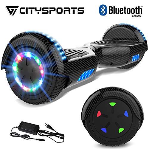 citysports scooter elettrico 6.5 pollici, bluetooth scooter auto bilanciamento, scooter elettrico intelligente 2x350w con led