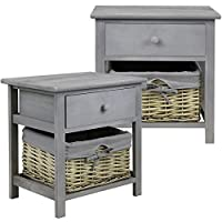 Hartleys Pair of Grey Bedside Cabinets with Wicker Storage Basket