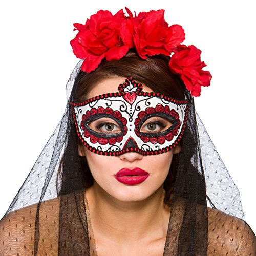 Adults Day Of The Dead Deluxe Mexican Eye Mask Fancy Dress Hallowen Costume Accessory