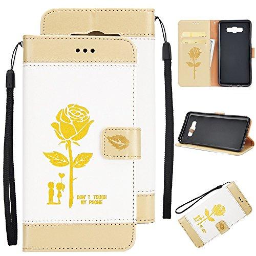 EKINHUI Case Cover Dual Color Matching Premium PU Leder Flip Stand Case Cover mit Card Cash Slots und Lanyard für Samsung Galaxy J710 ( Color : Gold ) White