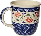 Polish Pottery Mug 12 Oz. From Zaklady Ceramiczne Boleslawiec 1105-963 Classic Pattern, Capacity: 12 Oz.
