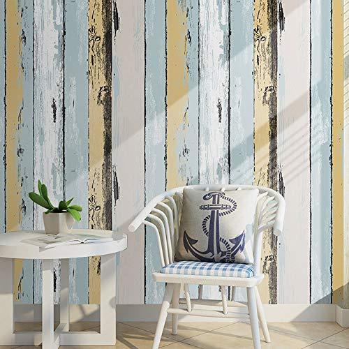 DUOCK Vintage Holzplatte schälen und Stick Tapete gelb/lt. Blau/Schwarz/Creme selbstklebende Wohnzimmer Schlafzimmer Wand Dekor (Und Schwarz Tapete Creme)