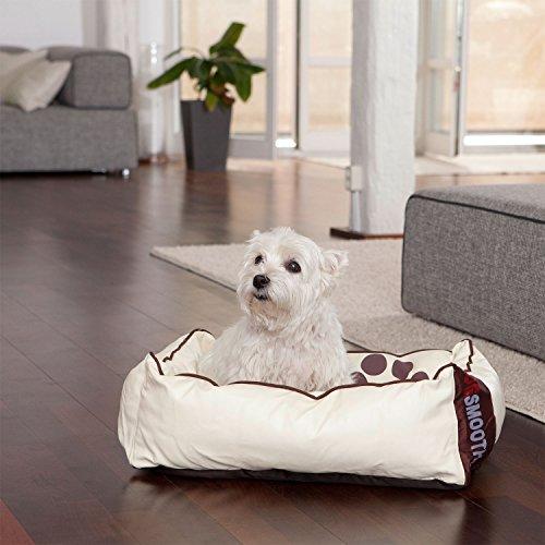 Smoothy Hundekorb aus Leder; Hunde-Körbchen; Hundebett für Luxus Vierbeiner; Beige-Weiß Größe S - 4