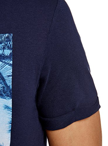 oodji Ultra Uomo T-Shirt Stampa Estiva Blu (7975P)