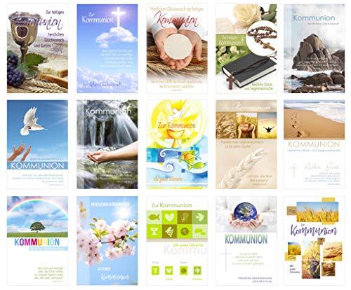 Set 15 Kommunionskarten mit Umschlag - Glückwunschkarte zur Kommunion - Kommunionskarte - Set Kartenset (Klappkarten mit Briefumschlag)