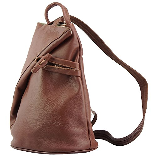 f437a117c0e72 ... Rucksack-Tasche und Schultertasche Fiorella mit vielen Taschen aus echtem  Leder aus Italien Braun ...