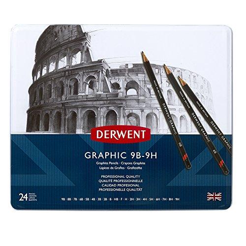 Derwent Graphic - Lápices de grafito (24 unidades, en estuche de metal, dureza 9B - 9H), color negro