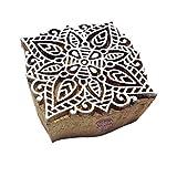 Etnica Quadrato Mandala Disegno Legno Timbro Tessile Blocco