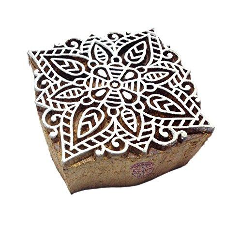 Designer Quadrat Mandala Design Holz Drucken Textil Stempel (Stoff Designer Schubladen)