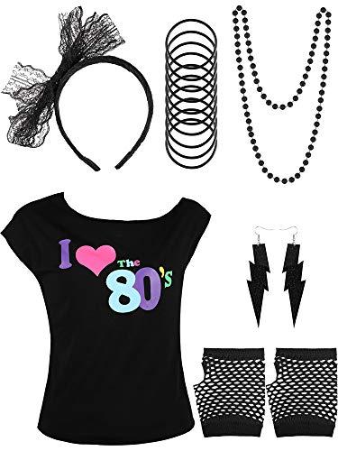 Yaomiao 80er Jahre Kinder Kostüm Zubehör Set, Gehören T-Shirt, Fischnetz Handschuhe, Armbänder, Halskette, Ohrringe, Spitze Stirnband für Party Kostüm Gefallen (Farbe 3, 10 - 12 ()