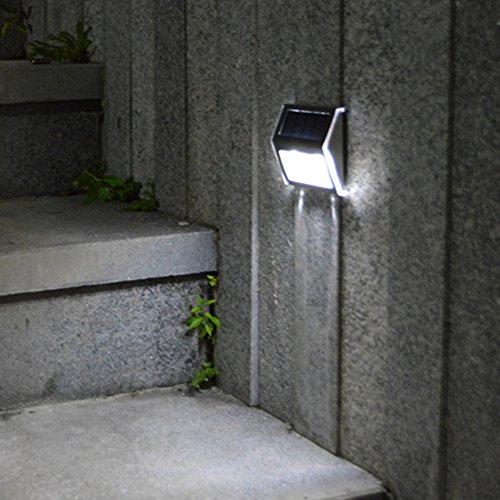 Lixada LED Luz Alimentado por Energía Solar Recargables Impermeable Respetuoso del Medio Ambiente 2 Piezas de LEDs Para Escalera Corredor Yarda Jardín (precio: 4,99€)