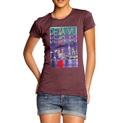 TWISTED ENVY Déjà Vu City Women's Funny 100% Cotton T-Shirt, Crew Neck, Comfortable and Soft Classic Tee with Unique Design