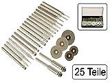 25 teiliges Set Diamantfeilen und Trennscheiben für Mini-Bohrmaschine