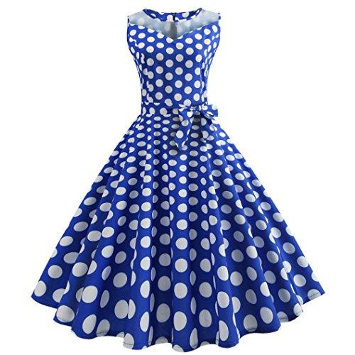 ile 50er Swing Sexy Punkt Drunck Rockabilly Kleid Frauen 2018 Trägerlos Kleider Jahre Vintage Cocktailkleid Röcke Petticoat Vintage Mode Partykleider Cocktailkleider (M, Blau-1) ()
