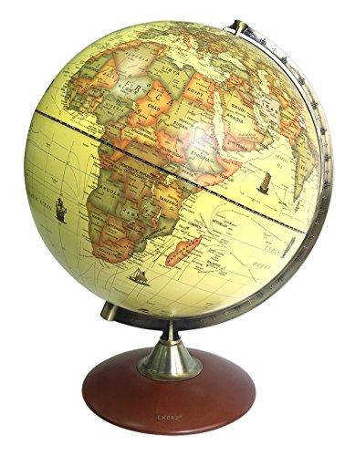 Exerz (X-Large Durchmesser 30 cm Antiker Globus mit Holzfuß - in Englischer Sprache