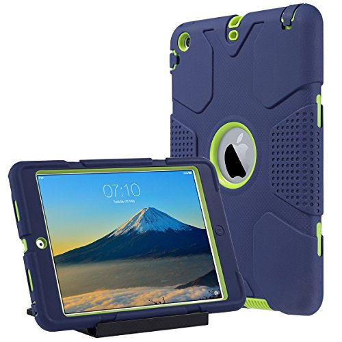ULAK iPad Mini Hülle, iPad Mini 2/3 hülle 3in1 Hybrid Case Cover Hochleistungs Shockproof Kickstand Abdeckung Fall für iPad Mini/iPad Mini 2 / iPad Mini 3 (Marine + Minze) - 2 Mini Fall Apple Ipad