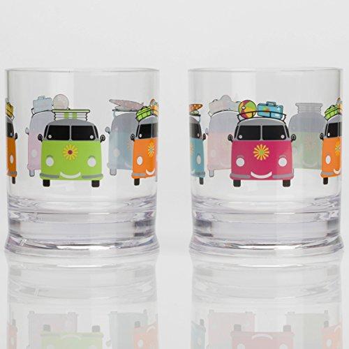 Acryl Trinkglas 310 ml, 2 Stück Bunt VW-Bus Camping Gläser Zubehör Trink Glas Kunststoff Acrylglas Partyglas Wasserglas Bruchfest Trinkbecher Becher Whiskyglas Whiskey Gläser Camper Smiles