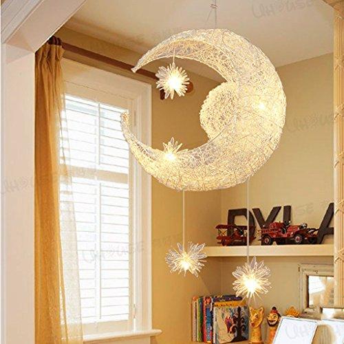 *Modern pendant light Moon Star Featured Pendelleuchte mit 5 Lights, Globe Mini Style Pendelleuchten Home Deckenleuchte für Esszimmer, Wohnzimmer, Küche Haushalts Kronleuchter (Farbe : A) (Pendant Star Light)