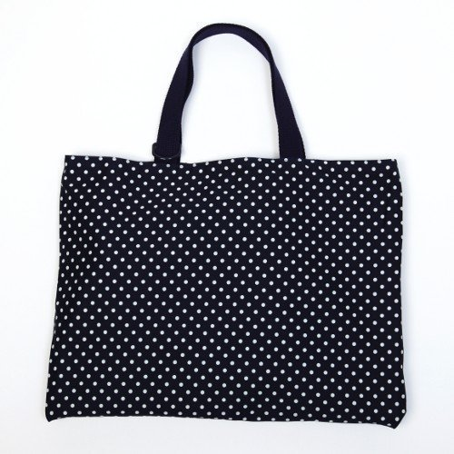 Kids lessons reversible polka dot bag, dark blue, dark blue canvas x made in Japan N0171700 Handmade sense (japan import)
