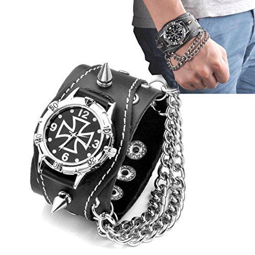 Remaches JSDDE Collection para Hombre Punk Rock Negra de Piel para cinturón Reloj de Pulsera