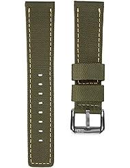 Bracelet de montre remplacement plongée nylon imperméable par ZULUDIVER, Vert et Jaune, 22mm