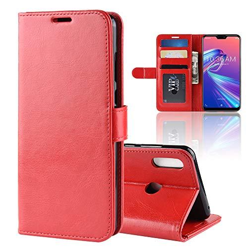LAGUI Hülle, für Asus Zenfone Max Pro M2 ZB631KL, Schlichtes Aber Edles Brieftasche Handyhülle Mit Kartenfächern Fach & Magnetische Verschluss. rot
