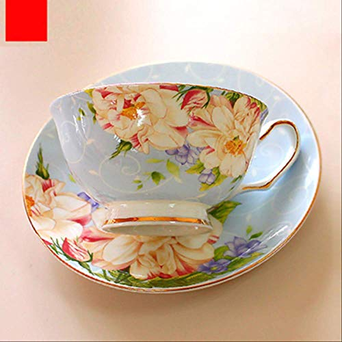 QYYDMKB 220ml, Fine Bone China Vintage Teetassenset, Craft Teetasse mit Untertasse, Porzellankaffeetasse, Porzellantasse und Untertasse blau Vintage Fine China