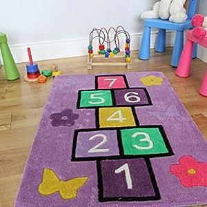 children 39 lila himmel und h lle spiel spa lernen nummer teppich violett 110 x 160cm. Black Bedroom Furniture Sets. Home Design Ideas