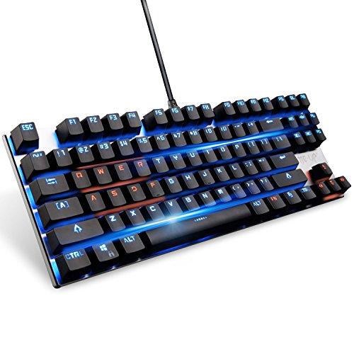 Tastiera retroilluminata meccanico con interruttori blu, tastiera metallica anti-ghosting pannello di lega di gioco con interfaccia USB, Nero - 6/0 Chiave