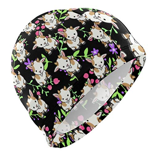 Gebrb Badekappe/Schwimmkappe/Bademütze, Kawaii Baby Goats Lycra Swim Cap Swimming for Women Men Lycra Swim Cap
