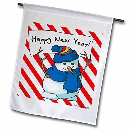 3dRose FL_61185_1 Happy New Year Schneemann mit Zuckerstangen-Hintergrund, Gartenflagge, 30,5 x 45,7 cm